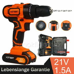 2-Gang 21V 2x1,5 Ah Li-Ionen-Batterien Elektrischer Schraubenzieher Schnellladeger/ät Akku-Bohrschrauber 45 Nm 2900 U // min Vorw/ärts- und R/ückw/ärtseinstellung