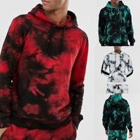 Mens Athletic Loose Hooded Top Tie-Dye Printed Casual Hoodie Pullover Sweatshirt