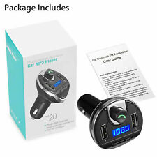 Wireless In-Car Bluetooth FM Transmitter MP3 Radio Adapter Car Kit USB Charger @