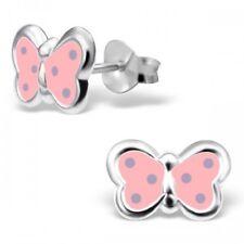 Childrens Niñas Plata Esterlina 925 mariposa rosa y lila Spot espárragos pendientes