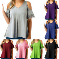 Plus Size Womens V Neck T-Shirt Summer Casual Cold Shoulder Blouse Tops Shirts