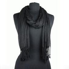 "Men's Fashion Soft Solid Black Long Crinkle Silk-Cotton Neck Scarf 66x25"""