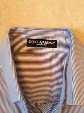 DOLCE & GABBANA Blue/White Short Sleeve Button Down Collar Shirt 40 (S)