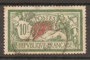 FRANCE-1924/32-TYPE MERSON-10 C.-used stamp-Y&T-nr.207-GREEN AND RED-Perforate
