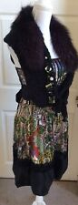Tricot Chic Print Dress With Purple Fur Matching Shrug,Size 42, Uk 10