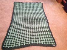 "Handmade Two Tone Green Crocheted Afghan Throw, 74"" L x 43"" W"