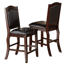 """2 Pc Dining High Counter Height Side Chair Bar Stool 24""""H Upholstery Espresso"""