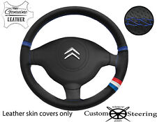 FRENCH FLAG BLUE STITCH PERF LEATHER STEERING COVER FOR CITROEN BERLINGO 08-16