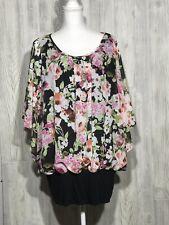 Faith and Joy Women's Butterfly Sleeve Floral Multicolor Blouse Size 3X EUC H4