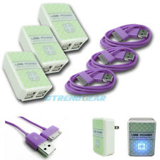 3X 4 USB PORT WALL ADAPTER+10FT CABLE POWER CHARGER PURPLE FOR IPHONE IPOD IPAD