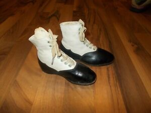 Vintage Antique Victorian dress Lace Up Leather  Boots Girls Toddler Black white