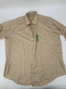 New Van Heusen mens short sleeve shirt brown Sz 2XL 18.5 Lux Sateen big 1A-12