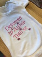 PERSONALISED 100% COTTON PINK, GREY,BLUE or WHITE BABY VEST/BODYSUIT ANY MESSAGE