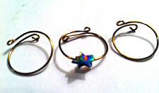 MIDI WIRE KNUCKLE RINGS Antique Brass & Metallic Star Charm Set of 3