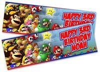 x2 Personalised Birthday Banner Super Mario Children Kids Party Decoration 7