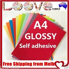 20x A4 Colour Glossy Self Adhesive Sticker Paper Sheet Label Laser Print Office
