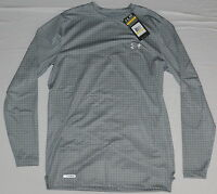 New Under Armour Men's Coldgear  Evo Fitted Crew Neck Shirt Gray M L XL