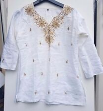 Ladies White/Cream Tunic Gold embroidery Sequins shirt top blouse Size XL