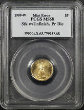 1999 with W $5 Gold Eagle Struck with Unfinished Proof Die Mint Error PCGS MS-68