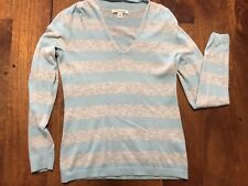 Banana Republic Women's Fitted Grey Striped V Neck Sweater Sz S
