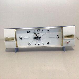 Vintage Blue and White Rhythm Musical Alarm Clock with Gold Trim 9.5 x 33cm #622