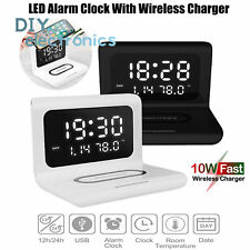 Qi Alarm Clock 3 in 1 Wireless Charger Charging Pad Station Thermometer Us