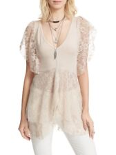 NWT Free People Lace Top Shirt Blouse Cream Beige M Romantic Sexy Ruffles