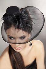 LivCo Mini Hut 24 Schwarz Schleier Fascinator Federn Vintage Lolita Abend Dirl