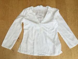 ZARA WOMAN White Linen Top/Tunic  Size S