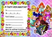 5 cartes invitation anniversaire Winx 01
