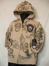 REBEL SPIRIT Vintage Full Zippered SKULL SNAKE Distressed Hoodie Mens sz M NWT