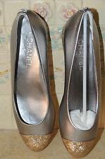 $765 NEW CHANEL Grey Silver Gold toe Ballet SHOES BALLERINA FLATS 39.5 9 bag