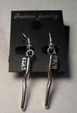 Tibet Silver Toothbrush Dentist Dental Hygienist Tech Earrings French Hooks #E67