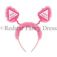 12 x HEN PARTY FANCY DRESS HEAD BOPPER PINK FLUFFY FUR HEN BRIDE TO BE NIGHT OUT