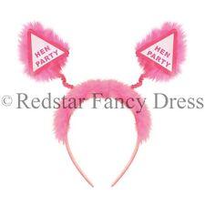 12 x HEN PARTY FANCY DRESS HEAD BOPPER PINK FLUFFY FUR HEN BRIDE TO BE NIGHT OUT