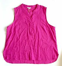 New Saint Tropez West Women's Fushcia Pink Sleeveless Linen Shirt Blouse Top 3X