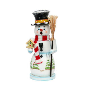 """Wooden Smoking snowman """"Toni New"""" large with knitted scarf, colorful 11 x 10 x 2"""