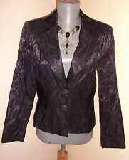 Goth Steampunk BLACK & PURPLE jacquard Baroque Evening Jacket 10 12 UK 38