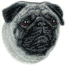 "2 1/4"" x 2 1/2"" inch Pug Dog Breed Portrait Embroidery Patch"