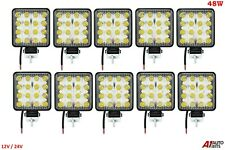48w 16 Led 12-24v Work Fog Flood Light Square 10X Lamps Off-Road Jeep Truck Boat