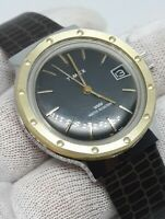 Vintage Timex BIG Face MARLIN DIVER Hand-wind Mens Watch Black Gold REPTILE BAND