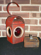Vintage Industrial Red Chalwyn Paraffin Road Light Railway Lantern Lamp & Burner