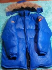 Vintage Ecko Unlimited Blue Heavy Leather Down Filled Parka XXL