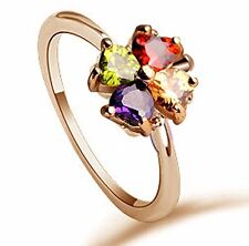 GirlZ! Fashion Design Rose Gold plated Heart Clover Zircon Flower Crystal Ring