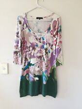 Womens Roberto Just Cavalli Silk Blend 3/4 Sleeve Floral Knit Dress Shift Size 6
