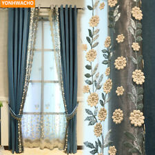 embroidered lace Nordic pastoral blue modern flannel cloth blackout curtain B294