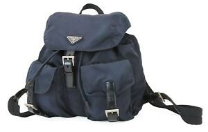 Authentic PRADA Purple Nylon and Leather Backpack Bag Purse #39964