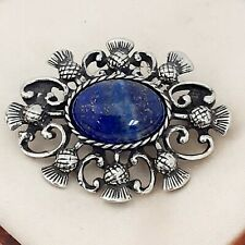 Vintage Style Blue Lapis Lazuli Gemstone Pewter Celtic Scottish Thistle Brooch
