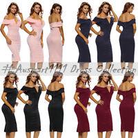 Size 8 to 14 Off Shoulder Midi V Neckline Casual Summer Cocktail Dress Clubwear