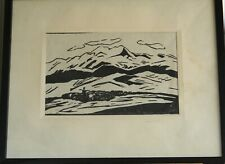 Armenian Art Gallery,ARAGATS SLOPES,1965,Linocut,ANGELA SARKISYAN,Armenia Listed